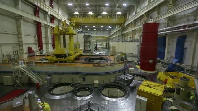 High angle view employees work in the main reactor hall during a planned outage at the Dukovany nuclear power plant operated by CEZ AS in Dukovany...