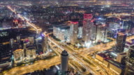 T/L WS TU High Angle View of Beijing Skyline at Night / Beijing, China