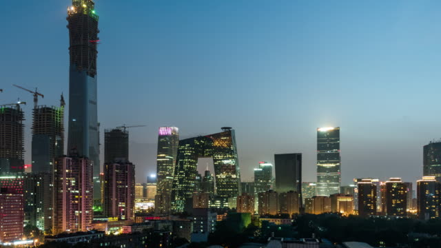 T/L TU High Angle View van Beijing Skyline in de nacht