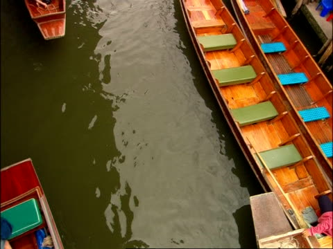 High angle view of boat traffic on canal at Floating Market, Bangkok, Thailand