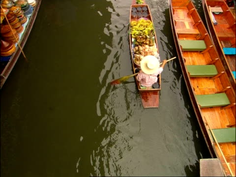 High angle view of boats on canal at Floating Market, Bangkok, Thailand