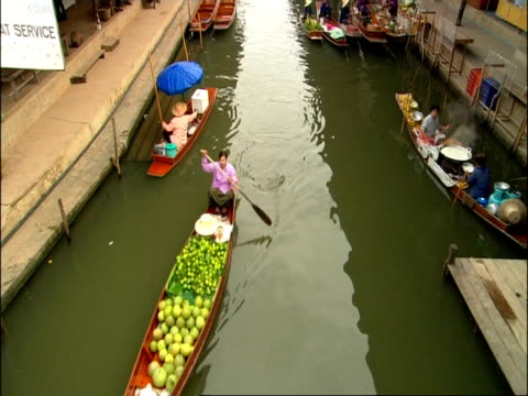 High angle view of floating markets, Bangkok, Thailand