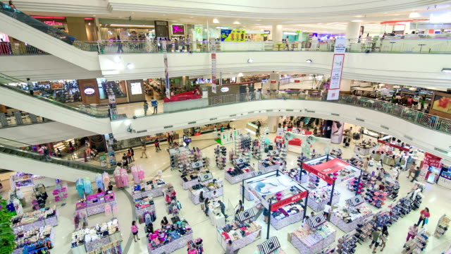 High angle view of poeple in shopping mall