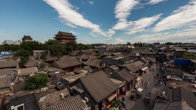 T/L WS HA ZO hög vinkel se Trumtornet och gamla traditionella arkitektur / Peking