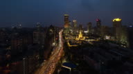 High angle view of viaducts Shanghai China at night