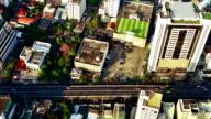 High angle view to city street