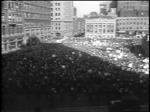 B/W 1933 high angle wide shot long shot view from west of huge crowd at Communist demonstraton / Union Square NYC
