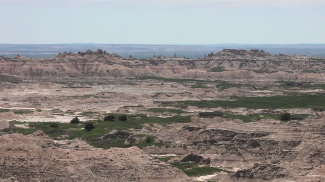 High Angle Wide Shot of mountains and a valley in Badlands National Park