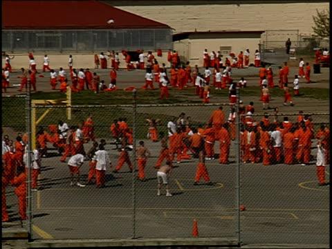 High angle wide shot pan inmates in yard at San Quentin Prison/ Marin County, California