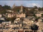 high angle wide shot tilt down of Bath, England