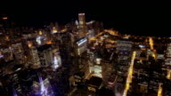 High angle wide shot view of nighttime cityscape from Sears Tower/ Chicago