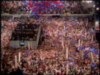 1988 high angle wide shot zoom in balloons falling on cheering crowd at Democratic National Convention / Atlanta Georgia