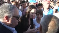 N High Commissioner for Refugees Antonio Guterres and UN Special Envoy for Refugees Angelina Jolie visit Kurdish Arab Turkmen and Ezidi refugees...