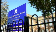 High Court judgement expected on school admissions policy ENGLAND London Hanwell EXT Drayton Manor High School building Sign 'Drayton Manor High...
