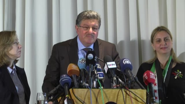High Negotiations Committee spokesman Salem alMeslet holds a press conference during the Syria peace talks in Geneva Switzerland on January 31 2016