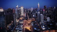High rise towers and office buildings make up New York City.