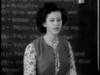 High School class girl talking about being free from persecution aunt was killed in Germany because Jewish students listening Bulletin board posting...