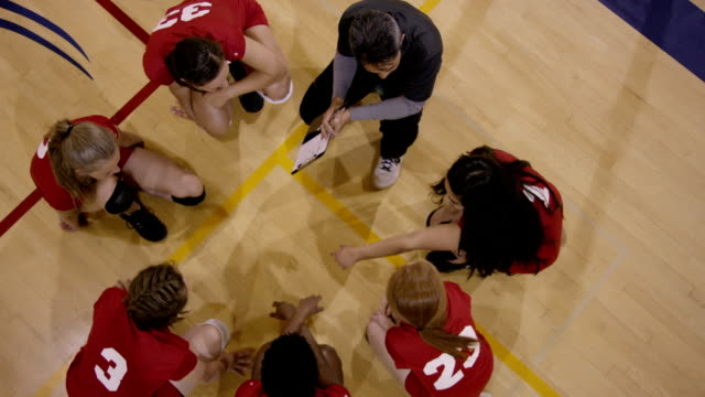 High School Girls Volleyball with coach
