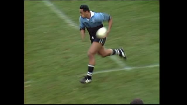 High school student Jonah Lomu scoring fourth of his four tries for Wesley College during the final of the 1993 New Zealand Secondary Schools Condor...