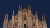 T/L, MS, LA, High section of Milan Cathedral (Duomo di Milano), dusk to night, Milan, Lombardy, Italy