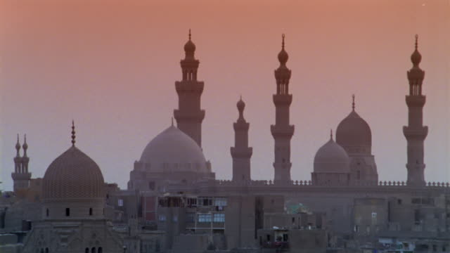 WS, High section of Sultan Hassan Mosque at dusk, Cairo, Egypt