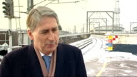 Phil Hammond visits site of west London high speed rail interchange at Old Oak Common Philip Hammond MP interview SOT is problem with overhead cables...