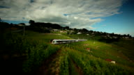 high speed train and vinyard in timelapse