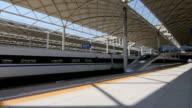 High speed train leaving Shijiazhuang city, China