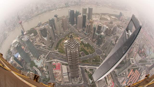 High View of Lujiazui Shot from Shanghai Tower (Fisheye)
