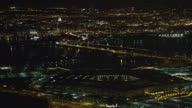 High view of the Pentagon at night with Washington DC across Potomac in background. Shot in 2011.