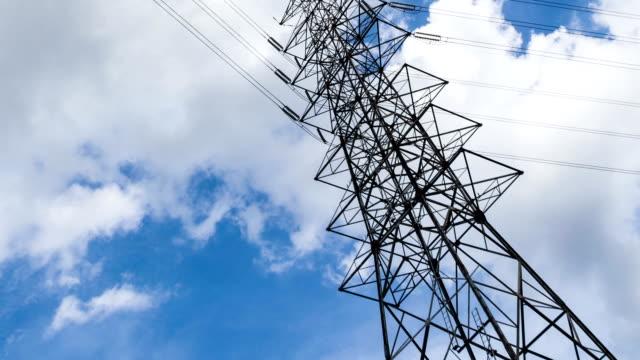 High Voltage Poles under blue Sky