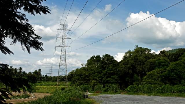 High voltage power Telefonmasten.  Zeitraffer