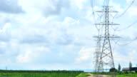High voltage Turm mit blauer Himmel und bewölkt