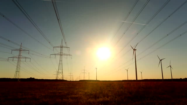 High Voltage Towers with wind energy