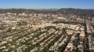 High, wide view from flight approaching Hollywood. Shot in 2008.