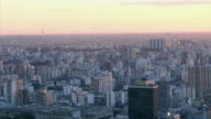 WS PAN High-angle view West across Puerto Madera canal at sunset / Buenos Aires,  Argentina