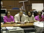 / highlights from the OJ Simpson not guilty verdict / Simpson hugging lawyers in courtroom after verdict is read / statements from Simpson lawyer...