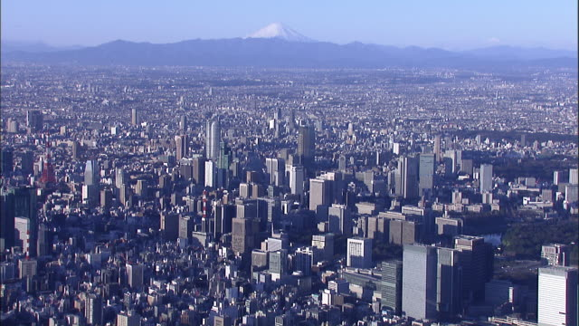 Highrises crowd a cityscape of the metropolitan area of Tokyo with Mt. Fuji in the distance.