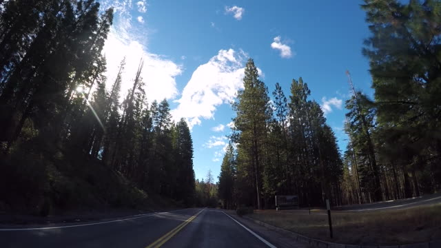 Highway 120 in Yosemite National Park with colorful trees and a rural road.