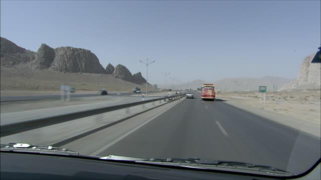 WS POV Highway across desert, Iran