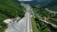 4K AERIAL Highway in the rural area