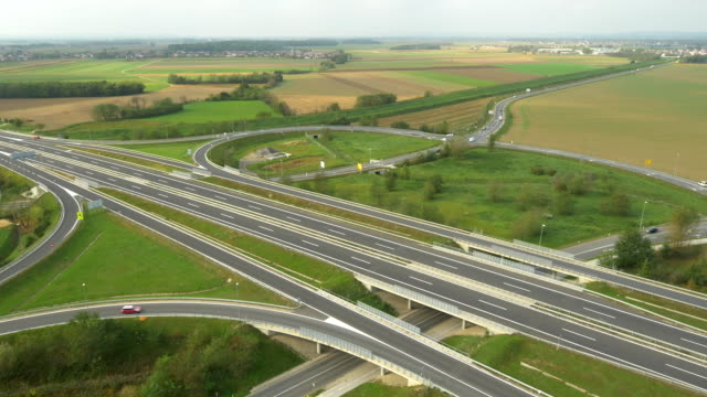 AERIAL Highway Intersections In The Countryside