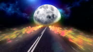 Highway to Moon. Abstract, surreal sky