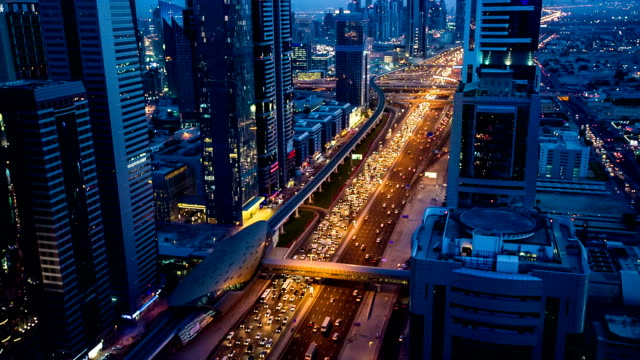 HD: Highway traffic in Dubai at dusk