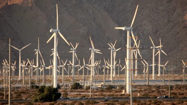 Highway traffic San Gorgonio Pass Wind farm Palm Springs California