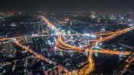 T/L WS HA PAN Highway with Traffic at Night / Bangkok, Thailand