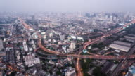 T/L WS HA Highway with Traffic Dusk to Night Transition / Bangkok, Thailand