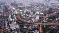T/L WS HA PAN Highway with Traffic Dusk to Night Transition / Bangkok, Thailand
