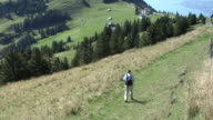Hiker on mount Rigi