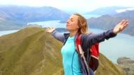Wandelaar op de bergtop